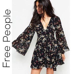 Free People Black Chiffon Lilou Floral Print Dress